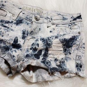 Machine B&W Heavily Distressed Cut Off Shorts M